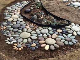 river rock flowers idea