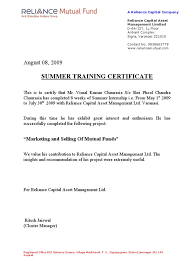 Summer Internship Completion Certificate Format Sample