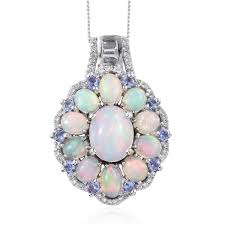 ethiopian welo opal multi gemstone platinum over sterling silver pendant with chain 20 in 5 64 ctw lc
