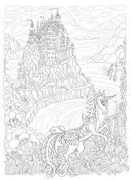 ベクターファンタジー風景おとぎ話ユニコーン馬と山の丘の上の城海
