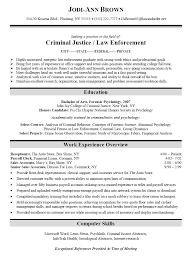 Criminal Justice Sample Resume Criminal Justice Resume Templates
