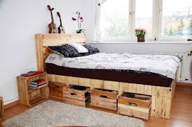 Pallet Bedroom Pallet Wood King Size Bed With Drawers Storage O Pallet Ideas