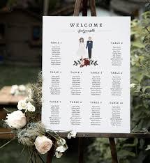 Wedding Seating Chart Seating Chart Wedding Wedding Table Plan Seating Charts Wedding Sign Illustrated Seating Chart Portrait Ibp
