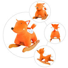 labebe child rocking horse wooden rocking horse toy orange fox rocking horse for kid 1 3