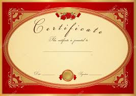 Red Certificate Of Completion Template Or Sample Background With