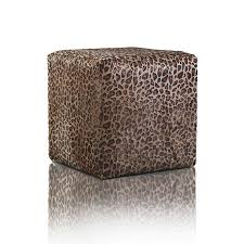 LEATHER POUF Fancy Platinum Leopard Print Furniture PAO&EFE