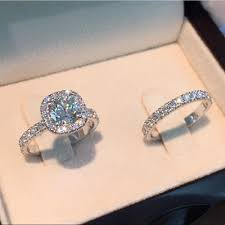 <b>2ps</b>/<b>set Princess</b> White Sapphire 925 <b>Silver</b> Rings Set Bride ...
