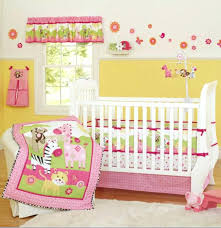 pink zebra giraffe animals girl baby crib bedding set cot kit applique embroidery quilt per fitted