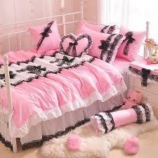 solid color princess black lace bow quilt duvet cover pink ruffles bedspread bed skirt 100 cotton bedding set home textile king comforter sets purple