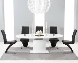 seville 180cm white gloss dining set 6 black hereford chairs 302201