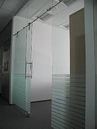 office glass doors with white frosting design