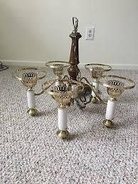 vintage 5 arm light hurricane lamp style hanging swag chandelier light fixture