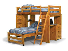 this pine l shaped bunk with twin over twin includes a desk area