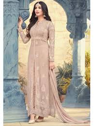 Front Open Salwar Neck Designs Beige Color Designer Front Open Indian Ethnic Party Wear