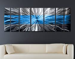 blue and silver metal wall art