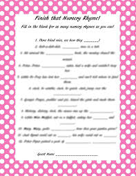 Adorable Baby Shower Games With Printable Templates  Baby Shower Baby Shower Games Nursery Rhymes