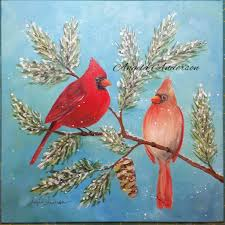cardinal acrylic painting angelooney winter paint in event