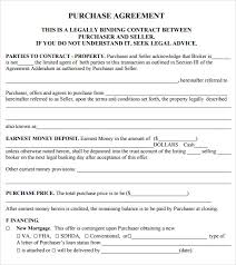 Purchase Agreement Samples Sample Purchase Agreement 10 Examples Format