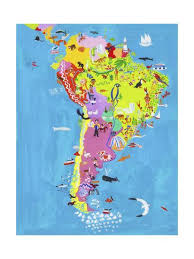 Illustrated Map Of Central And South America
