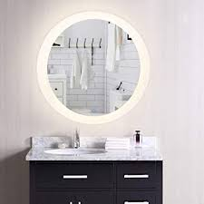 Illuminated cabinets modern bathroom mirrors Backlit Coz Dimmable Backlit Led Bathroom Mirror Plug In Modern Round Lighted Wall Mounted Emmahenryinfo Amazoncom Coz Dimmable Backlit Led Bathroom Mirror Plug In