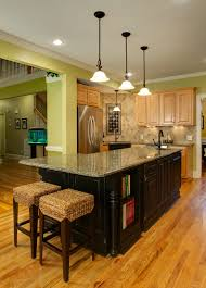 gleaming l shaped island with honed granite countertop also plaited stool  inside country kitchen design