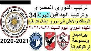 ترتيب الدوري المصري وترتيب الهدافين السبت 28-8-2021 الجولة 34 الجولة  الاخيرة - YouTube