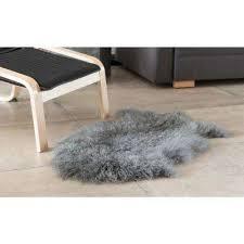 genuine mongolian lamb fur sheepskin rug natural single pelt gray