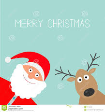 Pictures Of Merry Christmas Design Cartoon Snowman Santa Claus And Deer Blue Background Candy Cane