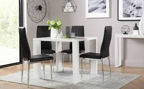 eden square white high gloss dining table with 4 leon black chairs
