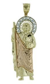 10k two tone gold saint jude thaddeus charm pendant necklace with cz gem stones