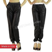 new charcoal white duo fabric black faux leather jogger jogging pants bottom usa