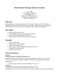 Objective Of Seeking Position With Bank Branch Manager Resume