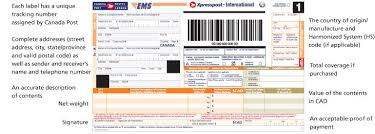 International Postal Zone Chart Customs Requirements Canada Post