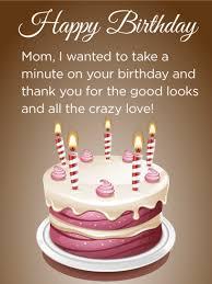 Thanks Mom Birthday Cake Card Birthday Greeting Cards By Davia