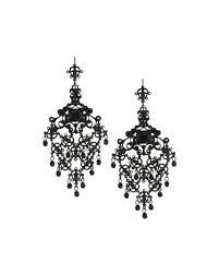 jose maria barrera metal filigree crystal chandelier earrings jet black