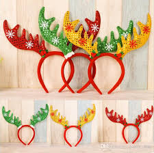 hot free size antlers headband children party personality sequins headband props headband decorations red green gold diy 1st birthday party