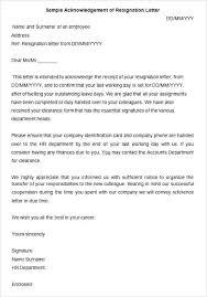 Sample Acknowledgement Of Resignation Letter Details Employee ...