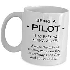 funny gifts for pilots aviator coffee mug as easy as riding a bike on fire