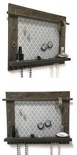 wooden jewellery wall hanger elegant jewelry organizer earring holder necklace holder barnwood frame