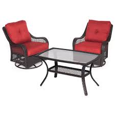 orleans 3 piece wicker patio conversation set with autumn berry cushions