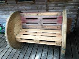 woods lying around and recycle them for building better outdoor sitting  furniture like this DIY pallet and spool wheel bench, only two pallet boards  and 2