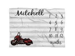 Milestone Blanket Boy Motorcycle Personalized Baby Blanket Custom Name Baby Blanket Growth Chart Blanket Newborn Blanket Personalize