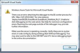 "Windows Azure error ""There was an error attaching the debugger to ..."