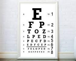 Eye Chart Poster Eye Chart Wall Art Eye Chart Print Eye Chart Poster Glasses Eyes Optometrist Optician Gift Optometrist Decor Optometry Eyechart Print