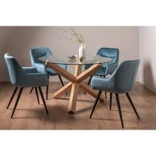 goya light oak 4 seater dining table