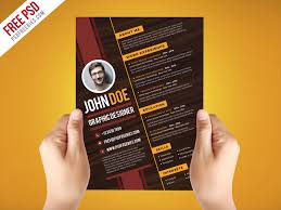 Awesome Graphic Design Resumes Creative Graphic Designer Resume Template Psd Psdfreebies Com