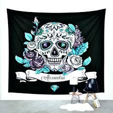 sugar skull wall decor tapestry large size art throw metal day of the dead s