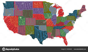 usa map with states pictorial geographical poster of america hand drawn lettering design for wall decoration travel guide print
