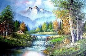freehand 10 bob ross landscape oil paintings