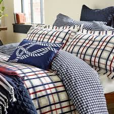 dexter red blue check bedding stone red navy check bedlinen
